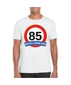 Verkeersbord 85 jaar t shirt wit volwassenen