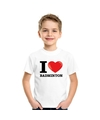 Wit i love badminton t shirt kinderen