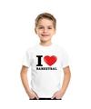 Wit i love basketbal t shirt kinderen