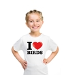 Wit i love birds t shirt kinderen