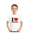 Wit i love dancing t shirt kinderen