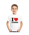 Wit i love games t shirt kinderen