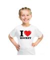 Wit i love hockey t shirt kinderen