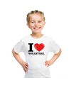 Wit i love volleybal t shirt kinderen