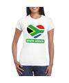 Zuid afrika hart vlag t shirt wit dames