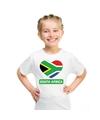 Zuid afrika hart vlag t shirt wit jongens en meisjes