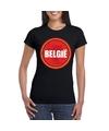 Zwart belgie shirt met duivel in cirkel shirt dames