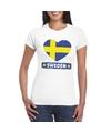 Zweden hart vlag t shirt wit dames