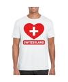 Zwitserland hart vlag t shirt wit heren